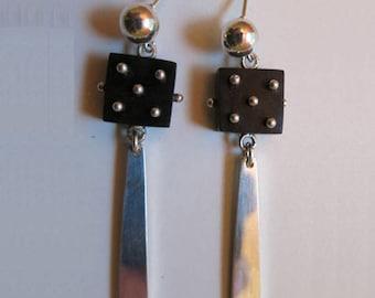 035 Ebony & Silver Earrings