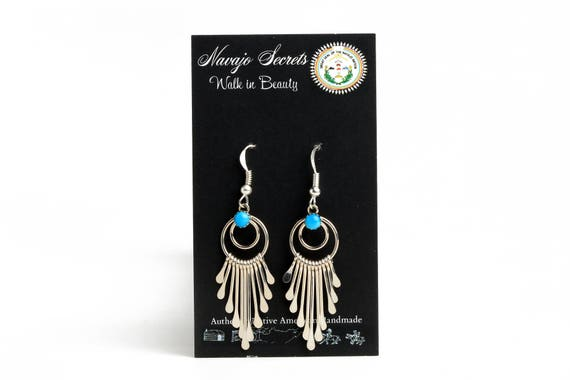 Lg Trendy Dream Catcher Earrings. Navajo Handmade sterling silver. Native Boho Beach Wedding