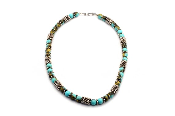 Short Turquoise Necklace, Navajo Handmade with chunky wedding