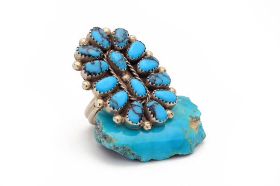 Size 10- Large Navajo Cluster Turquoise Ring