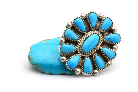 Size 7 Lg Flower Navajo Handmade Turquoise & Sterling Silver Ring Native American jewelry, bohemian beach wedding.