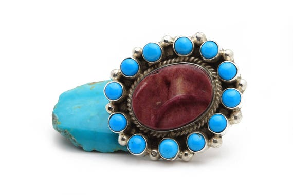XLg Flower Size 7 Navajo Handmade Turquoise & Sterling Silver Ring Native American jewelry, bohemian beach wedding.