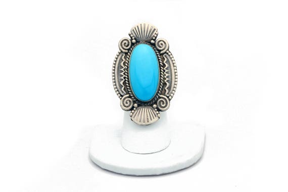Size 9 - Large Navajo Turquoise Ring (Oval Stone)