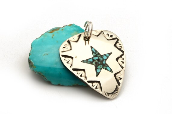 Chip Turquoise Inlay Star Guitar Pick Pendant for Music Lovers Native Handmade
