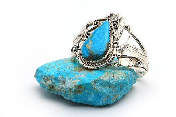 BRAND NEW! Lg Genuine Natural Navajo Handmade Turquoise & Sterling Silver Bracelet Native American jewelry, bohemian beach wedding.