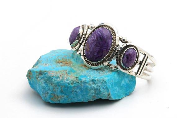 Genuine Natural Navajo Handmade Charolite & Sterling Silver Bracelet Native American jewelry, bohemian beach wedding.