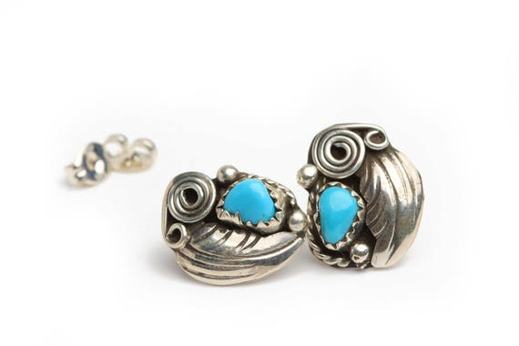 Navajo Handmade AZ Turquoise & Silver Earrings boho wedding