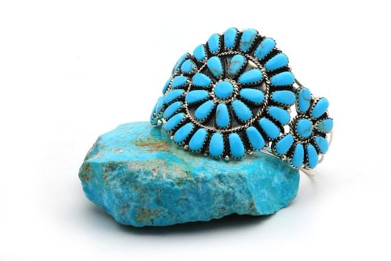 BRAND NEW! Simple Genuine Natural Navajo Handmade Turquoise & Sterling Silver Bracelet Native American jewelry, bohemian beach wedding.