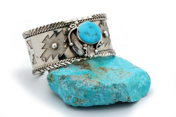 "6"" Sale Navajo Turquoise Nickel Bracelet Native American Handmade Jewelry. Bohemian Beach Wedding"