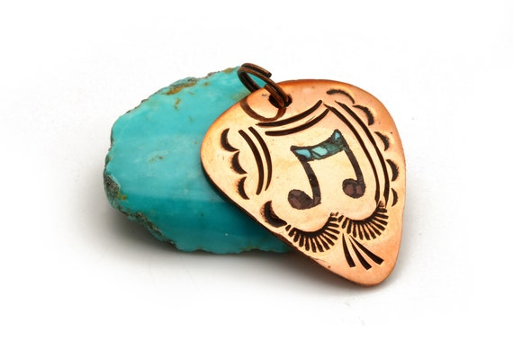 Chip Turquoise Inlay Music Note Guitar Pick Pendant Native Handmade(Copper)