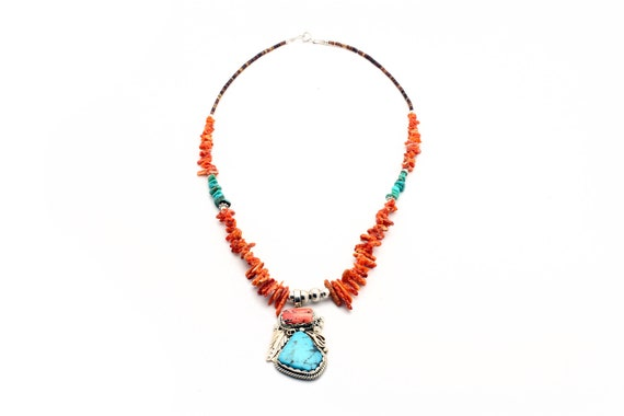 Lg Spiny Oyster and Arizona Turquoise Necklace, Navajo Handmade heishe shell and chunky stones wedding