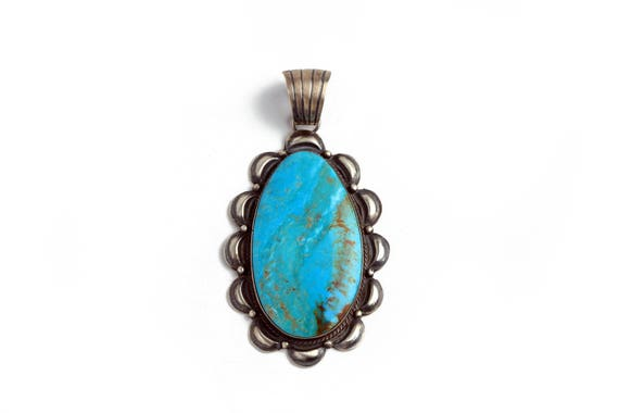 XLG Tear Drop Old Style Pendent, Arizona Turquoise Navajo Native Handmade,  Bohemian Beach Wedding