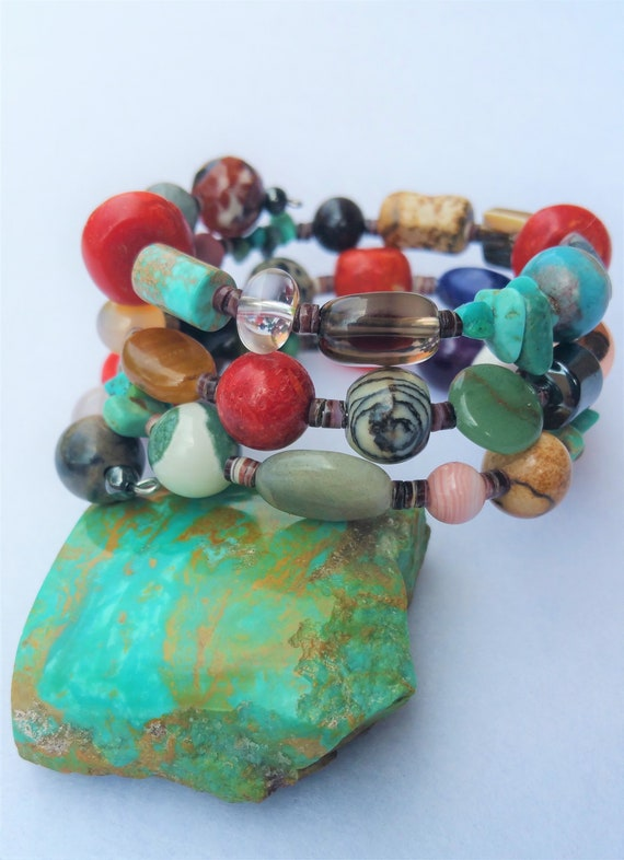 New: Natural Stones Wrap Around Bracelets Native American  bohemian beach wedding