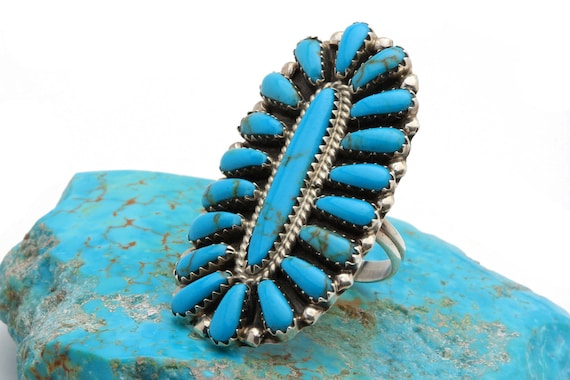 BRAND NEW! Size 6 Genuine Natural Navajo Handmade Turquoise & Sterling Silver Ring Native American jewelry, bohemian beach wedding.