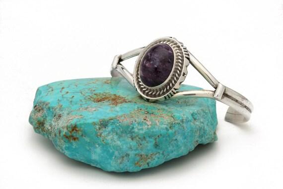Sterling Silver Bracelet Native American Charolite  jewelry, bohemian beach wedding.