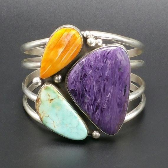 Sale**Navajo Multi Stone Sterling Silver Bracelet Native American Handmade  jewelry, Bohemian Beach Wedding