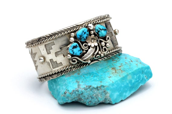 Sale Navajo Turquoise Nickel Bracelet Native American Handmade Jewelry. Bohemian Beach Wedding