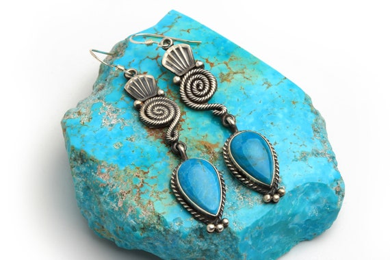 Detailed Old Style Whirlwind Dangle Earrings, Navajo Native Handmade,  Bohemian Beach Wedding