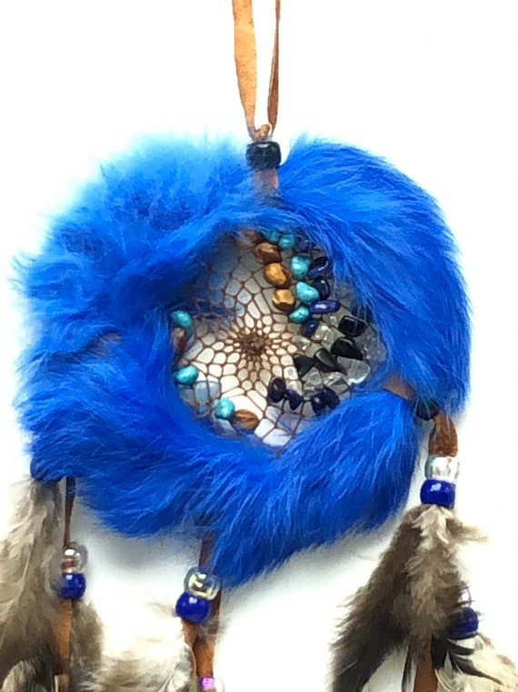 Md Dream Catcher- Blue Rabbit Fur with medicine stone. Real Navajo Native American with turkey feathers