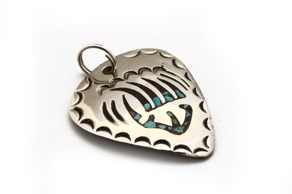 Chip Turquoise Inlay Bear Claw  Guitar Pick Pendant