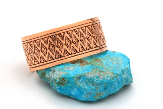 Thick Handstamped Native Copper Cuff Bracelets