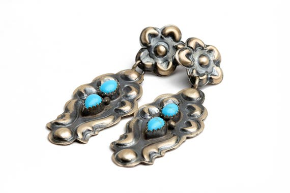 Old Style Navajo Turquoise Earrings, Native Handmade,  Bohemian Beach Wedding