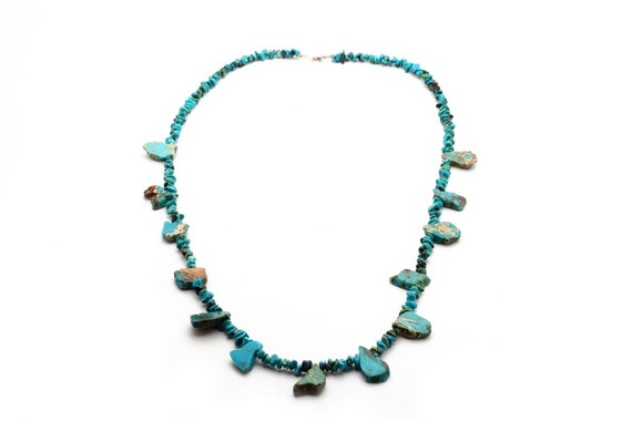 Long Turquoise Necklace, Navajo Handmade with chunky stones wedding