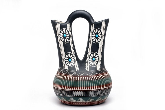 "9""x14"" XLG Actual Size Navajo Wedding Vase Hand Painted and Head Etched Pottery by Mabelline Grey - White Epson Clay (XLG)"