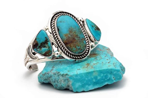 BRAND NEW! LARGE Genuine Natural Navajo Handmade Turquoise & Sterling Silver Bracelet Native American jewelry, bohemian beach wedding.