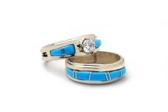 Size 6 Inlay Wedding Ring and Band, Navajo Native Handmade,  Bohemian Beach Wedding