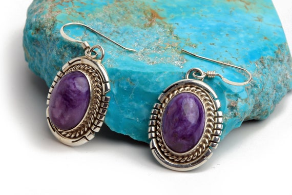 Lg Navajo Charolite Earrings, Native Handmade,  Bohemian Beach Wedding