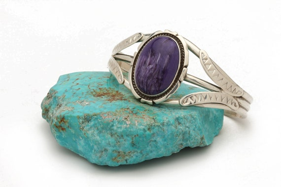 Sterling Silver Charolite Bracelet Native American jewelry, bohemian beach wedding.