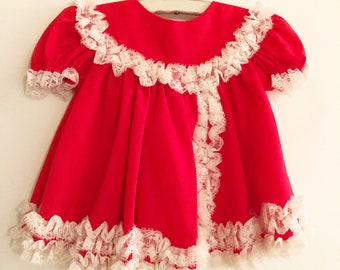 8ceb6fc4417e Vintage Bryan Red White Lace Ruffle Dress. Baby Girl Medium 6 Months.  Christmas Valentines.