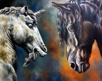 HORSE & UNICORN PAINTING, Ancient Tableau: Black Warrior, Friesian Horse, Luxury Wall Decor by Canadian Artist Kindrie Grove