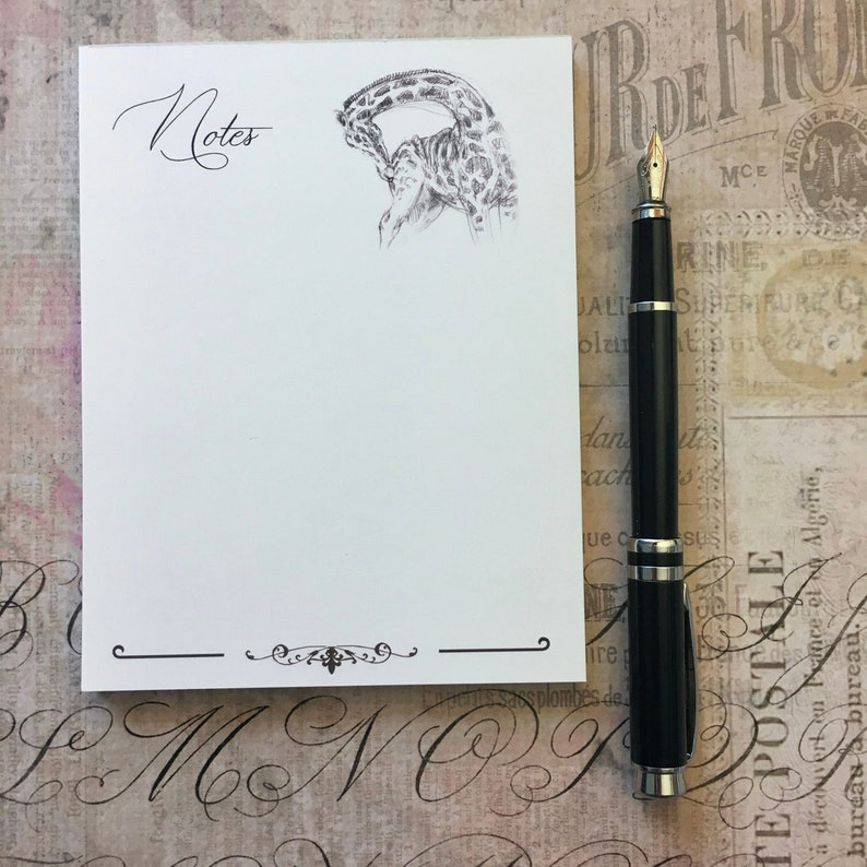 Giraffe Notepad Animal Sketches Notation Stationary by Canadian Artist Kindrie Grove