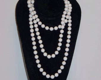 "Marvella 56"" White Bead Wrap Around Necklace"