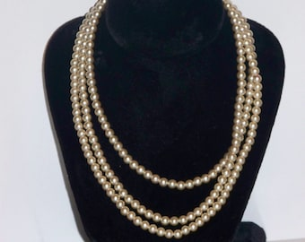 """Pearl Like Bead Wrap Around Necklace 54"""""""