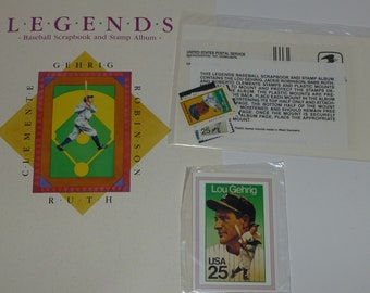 Legends Baseball Scrapbook and Stamp Album with Ruth, Gehrig, Robinson and Clemente