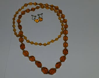 Vintage Faceted Amber Bead Necklace and Screw Earrings