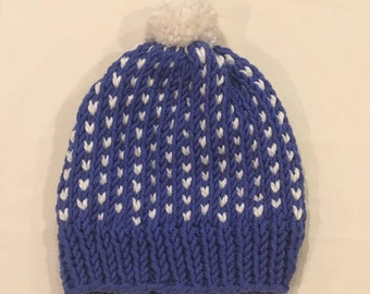 The Chebeague Classic handmade winter hat, Charcoal and ivory