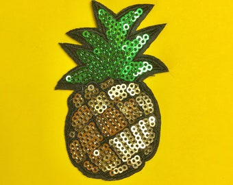 Iron On Sequin Pineapple Patch Appliqué Jacket Patch Fruit Patch