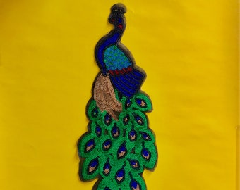 Large Peacock Patch Applique Sequin Applique Sequin Patch Bird Peacock Pheasant Pinup Rockabilly Jacket Patch