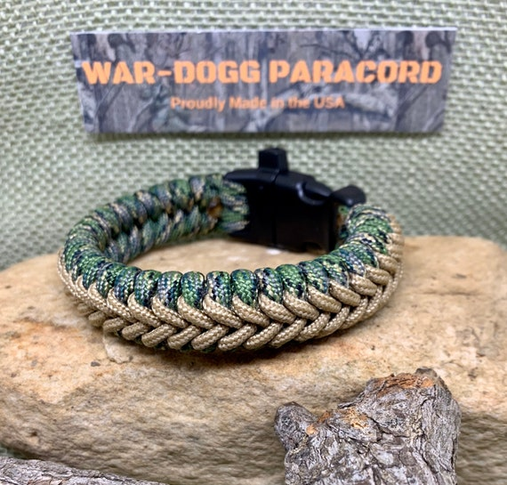Paracord Bracelet with Whistle Handmade Camo Survival Hiking Hunting USA Made