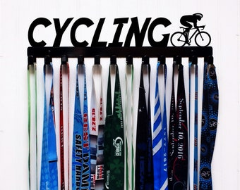 Cycling Wall Mount Medal Holder//Display Metal Color Options Available