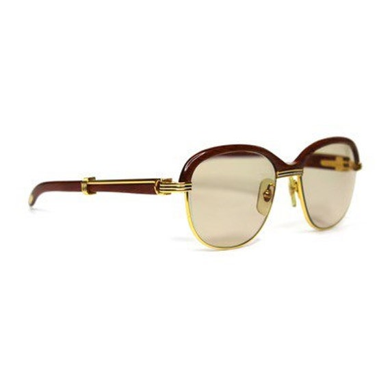 81a6eafa66c Items similar to Vintage Cartier Malmaison Palisander Rosewood Gold  Sunglasses on Etsy