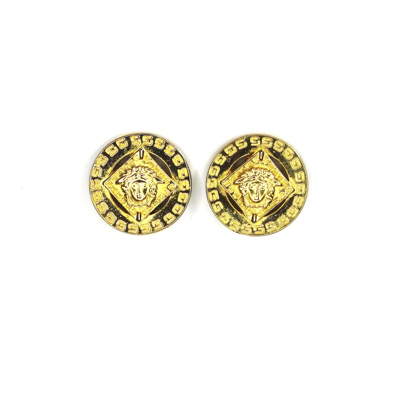 3a7011d3229 Round Gold Vintage Versace Medusa Head and Greek Key Earrings