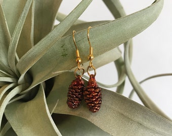 Real Dark Copper Dipped Pinecone Earrings Jewelry   French Hook Drop Earrings   Preserved Botanical Nature
