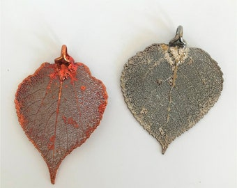 Real Pewter or Iridescent Copper Dipped Aspen Leaf   Pendant   Christmas Ornament   Wall Hanging   Preserved Botanical Nature
