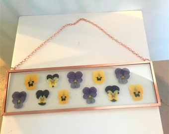 """Real Pressed Flower Wall Hanging   Pansy's Johnny Jump Ups   3"""" by 10"""" Glass with Copper Edging   Botanical Home Decor Artwork"""