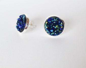 Blue Druzy Earrings, Druzy Stud Earrings, Raw Gemstone Earrings, Blue Earrings, Silver Studs, Faux Plug Earrings, Minimalist, Gifts For Her